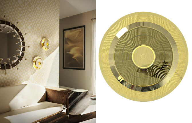LIVING ROOM IDEAS BRASS DETAILS handrix wall lamp by delightfull living room Living Room: Brass Details LIVING ROOM IDEAS BRASS DETAILS handrix wall lamp by delightfull