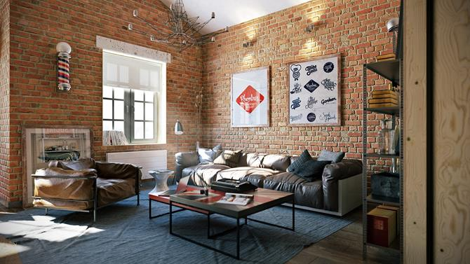 Living room design industrial interior 2 industrial interior Living room design: industrial interior Living room design industrial interior 2