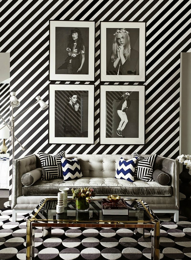 Luxury living rooms designed by kelly wearstler living for Black and white room wallpaper