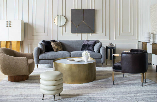 Luxury living rooms designed by kelly wearstler living for Luxury living room furniture collection
