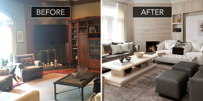 Beautiful living rooms:before and after of a sophisticated family ...