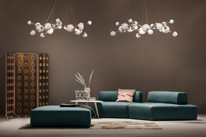 Spring Decor 10 living rooms that you'll want to have ATOMIC ROUND CHANDELIER BY DELIGHTFULL