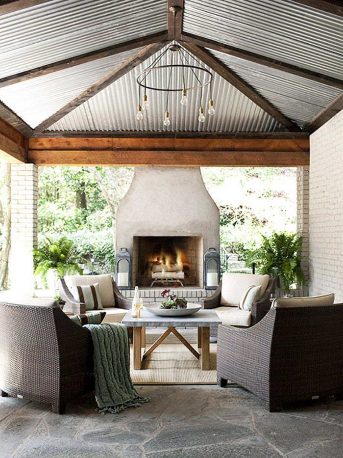 Summer Ideas Get Your Own OutdoorLivingRoom corrugated metal ceiling, outdoor fireplece, stone floor outdoor living room Summer Ideas: Get Your Own Outdoor Living Room Summer Ideas Get Your Own Outdoor Living Room corrugated metal ceiling outdoor fireplece stone floor