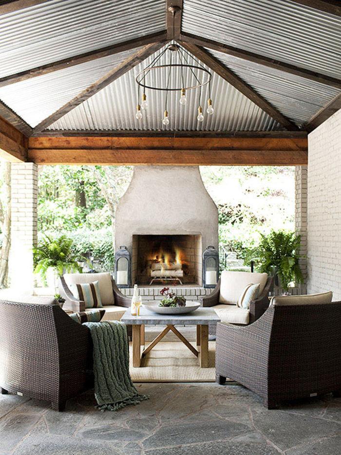 Summer Ideas Get Your Own OutdoorLivingRoom Corrugated Metal Ceiling,  Outdoor Fireplece, Stone Floor Outdoor