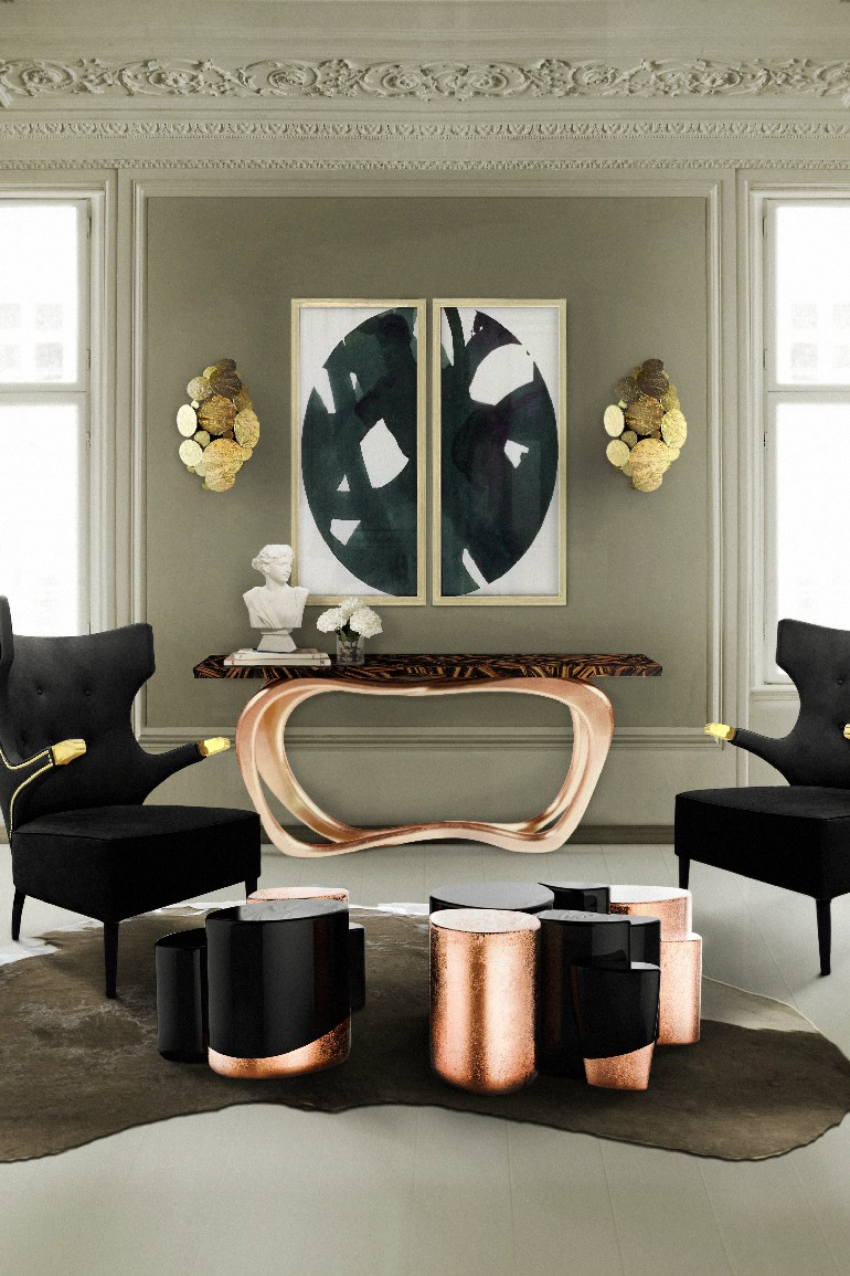 10 Graceful Living Room Ideas With Copper Details Living