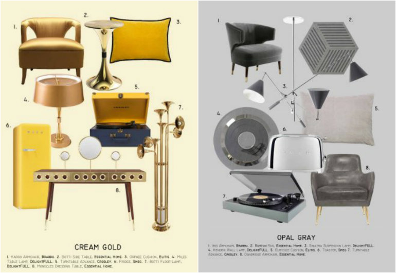 MOOD BOARD Mid Century Living Room Ideas In Cream Gold