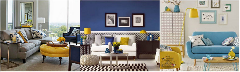 Living Rooms Mix Blue And Yellow Room Ideas
