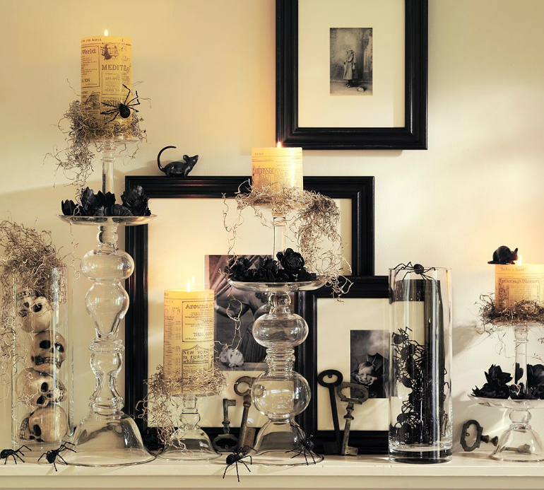 How to Transform Your Living Room for Halloween living room How to Transform Your Living Room for Halloween candles glass