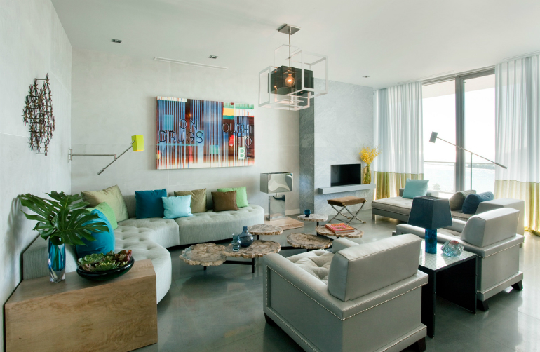 Iconic Modern Suspension Lamps to Use in Your LivingRoom living room Iconic Modern Suspension Lamps to Use in Your Living Room contemporary organic living room south beach miami fl by frank roop design interiors