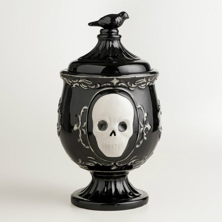 How to Transform Your LivingRoom for Halloween living room How to Transform Your Living Room for Halloween jar black skull