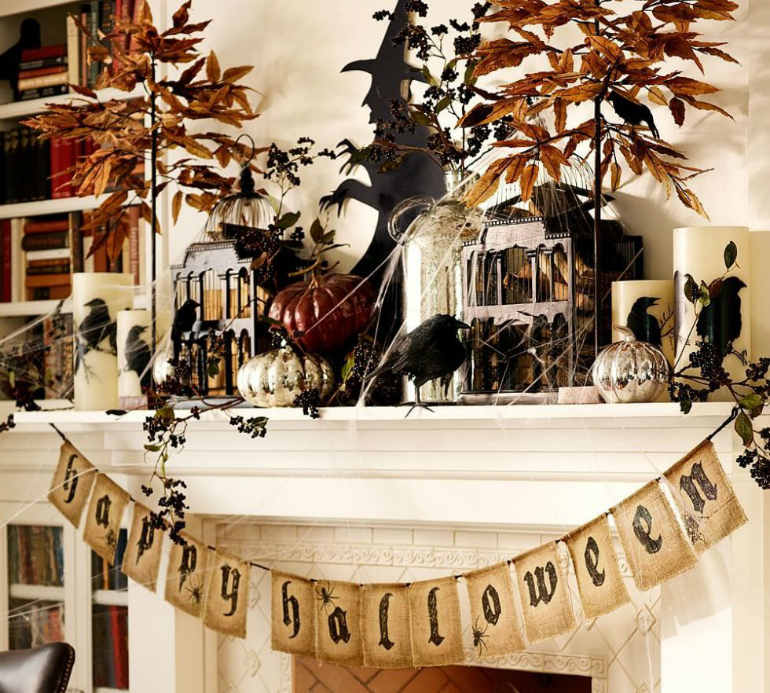 How to Transform Your LivingRoom for Halloween living room How to Transform Your Living Room for Halloween mantel retro