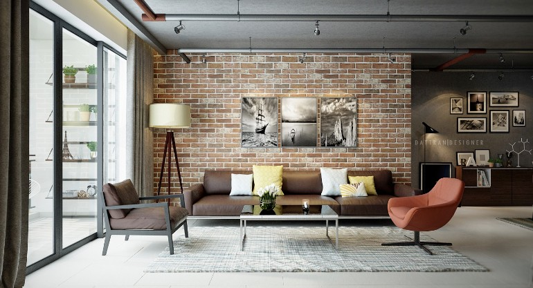 Industrial Living Rooms with Eccentric Brick Walls brick walls Industrial  Living Rooms with Eccentric Brick Walls