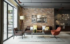 Industrial Living Rooms with Eccentric Brick Walls