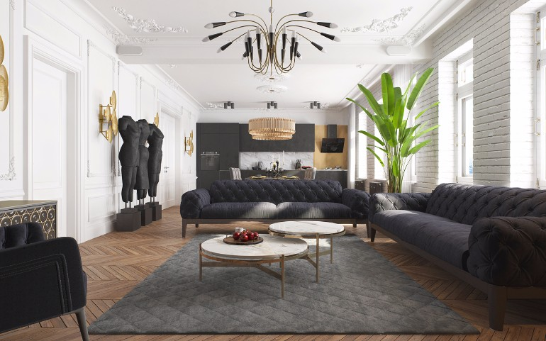 Modern Apartment in Kiev with Black Living Room Design black living room Modern Apartment in Kiev with Black Living Room Design Contemporary Apartment in Kiev with Modern Black Lamps 1
