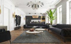 Modern Apartment in Kiev with Black Living Room Design