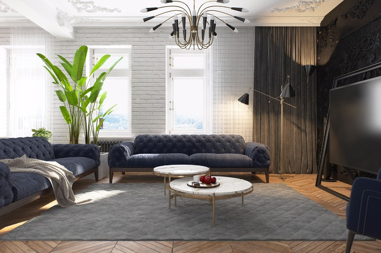Modern Apartment in Kiev with Black Living Room Design black living room Modern Apartment in Kiev with Black Living Room Design Contemporary Apartment in Kiev with Modern Black Lamps 2