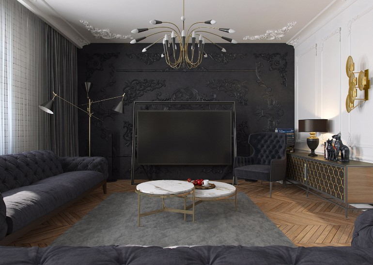 Modern Apartment in Kiev with Black Living Room Design