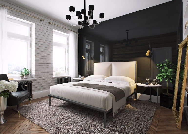 Modern Apartment in Kiev with BlackLivingRoom Design black living room Modern Apartment in Kiev with Black Living Room Design Contemporary Apartment in Kiev with Modern Black Lamps 8