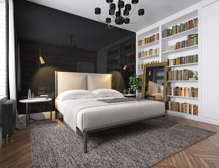 Modern Apartment in Kiev with BlackLivingRoom Design