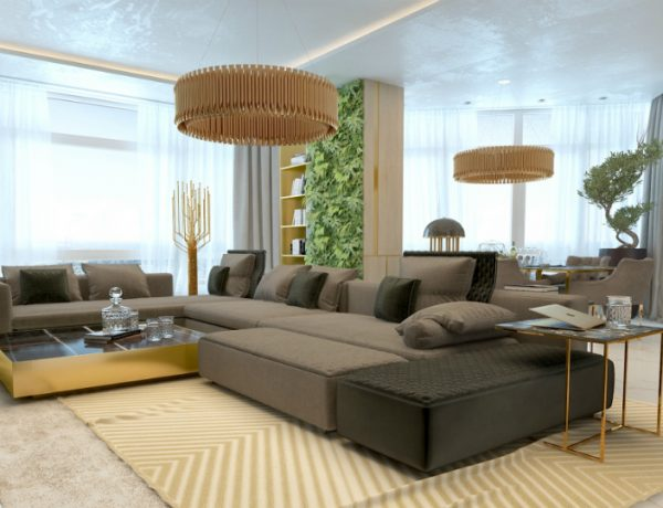 luxury living room with marble details and golden lighting designs
