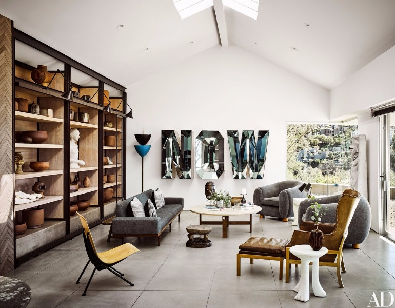 Ryan Murphy's Mid-Century Modern Living Room in Laguna Beach