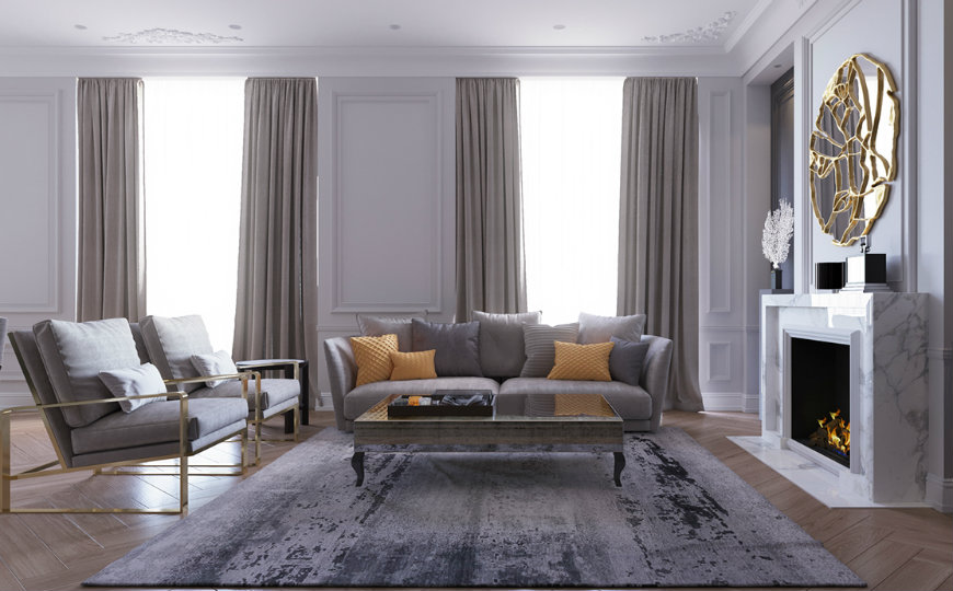 Luxury Living Room in Moscow Shining with Stunning Lighting Designs
