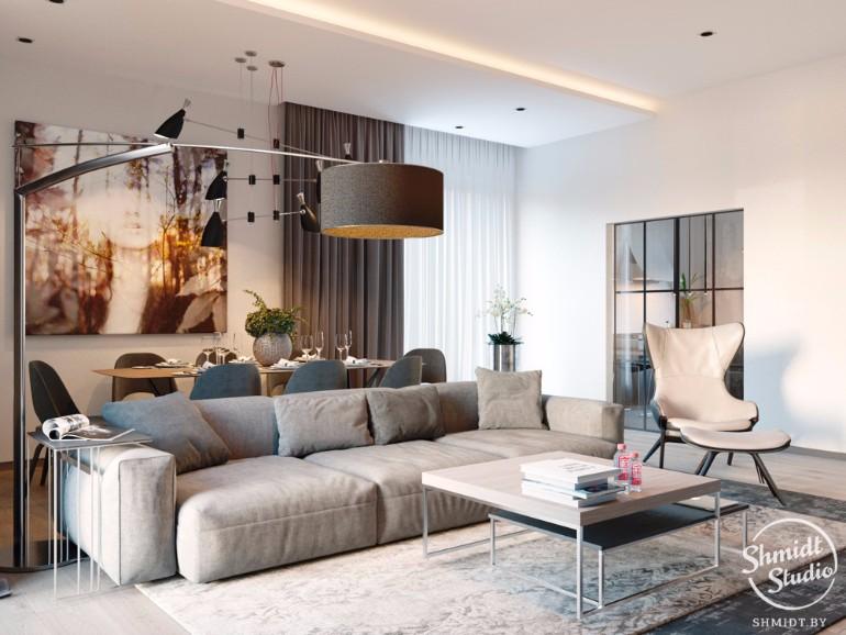 Stunning Open Plan Living Room With Delightfull Lighting