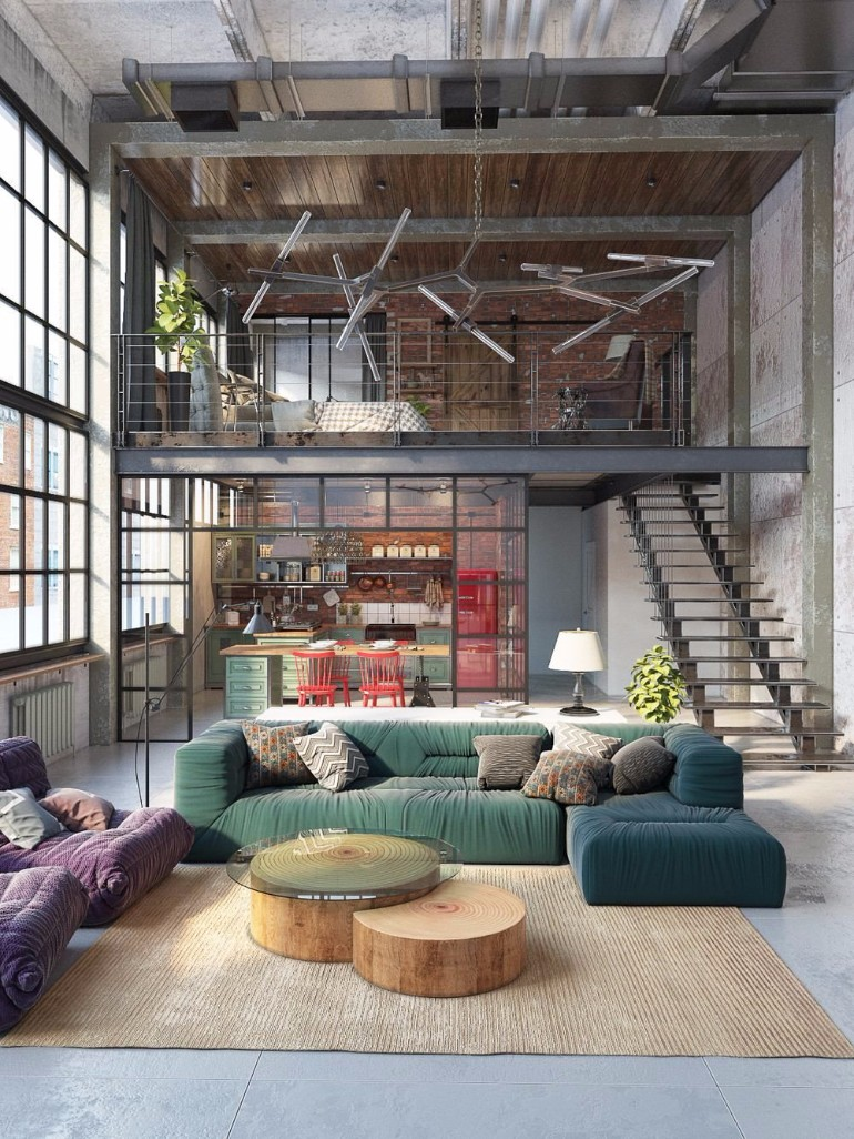 10 Loft-Style Living Room Design Ideas