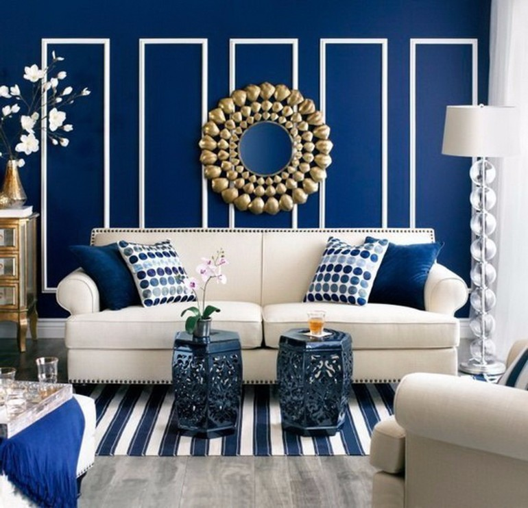 Blue Interior Design Ideas: Modern Living Room With Navy Blue Walls