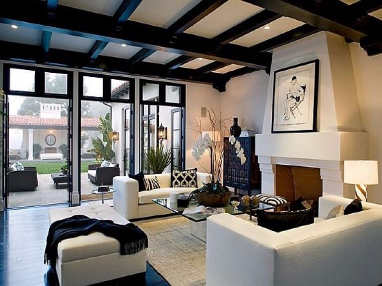 Exposed Beams as an Arms of Living Room living room Exposed Beams for Your Living Room Decor spanish colonial living room spanish living room with beams 09fe56b0cb735d04