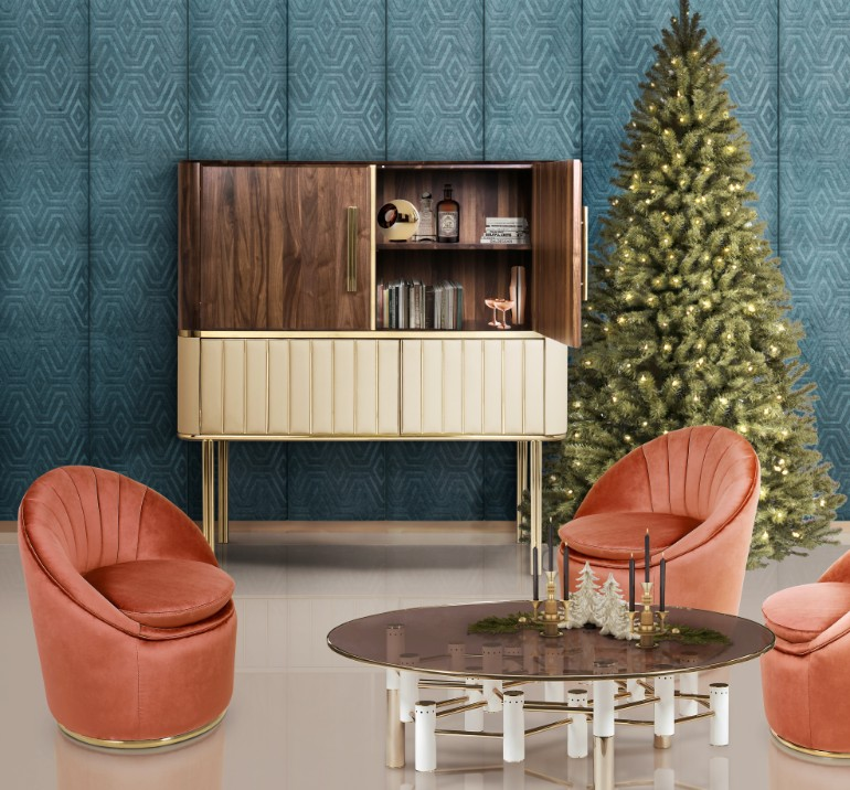 christmas living rooms, christmas living room ideas, living room inspiration, christmas home decor, holiday decorations, mid-century modern furniture christmas living rooms 5 Christmas Living Rooms We Are Simply Head Over Heels For ambience 166 HR 3