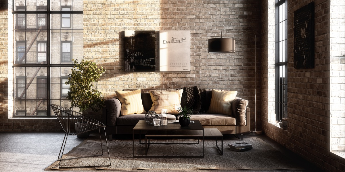 enchanting industrial style interior design living room | What's Hot On Pinterest Industrial Living Room