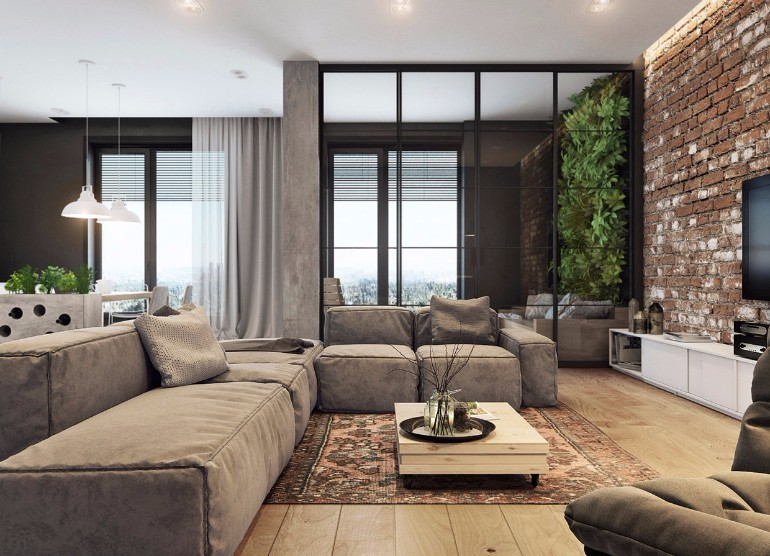 living room brick wall industrial living rooms with eccentric brick walls 15993