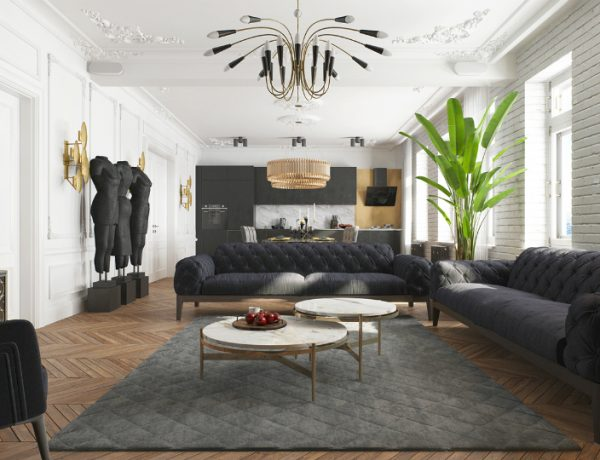 Modern Apartment in Kiev with Black Living Room Design black living room Modern Apartment in Kiev with Black Living Room Design Contemporary Apartment in Kiev with Modern Black Lamps 1 feat 600x460