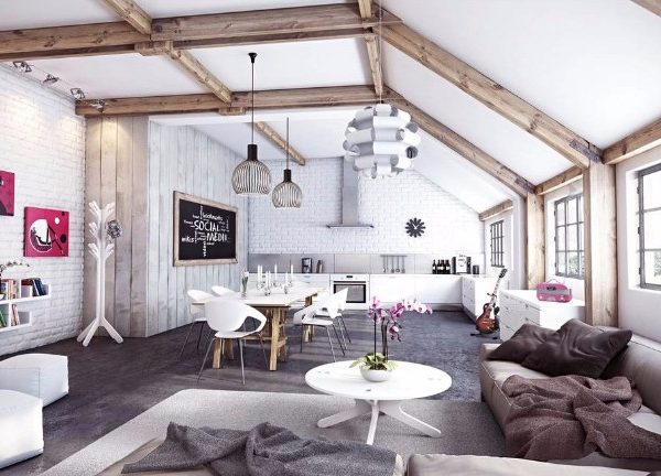 living room Exposed Beams for Your Living Room Decor Kirpichnaya stena v sovremennom interere9 600x432