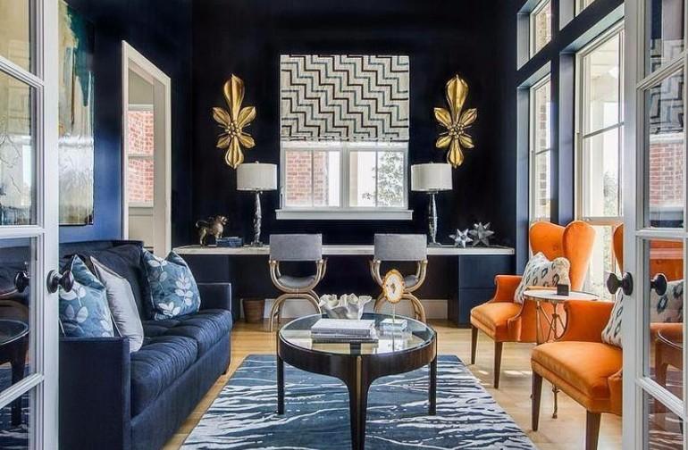 modern living room navy blue walls