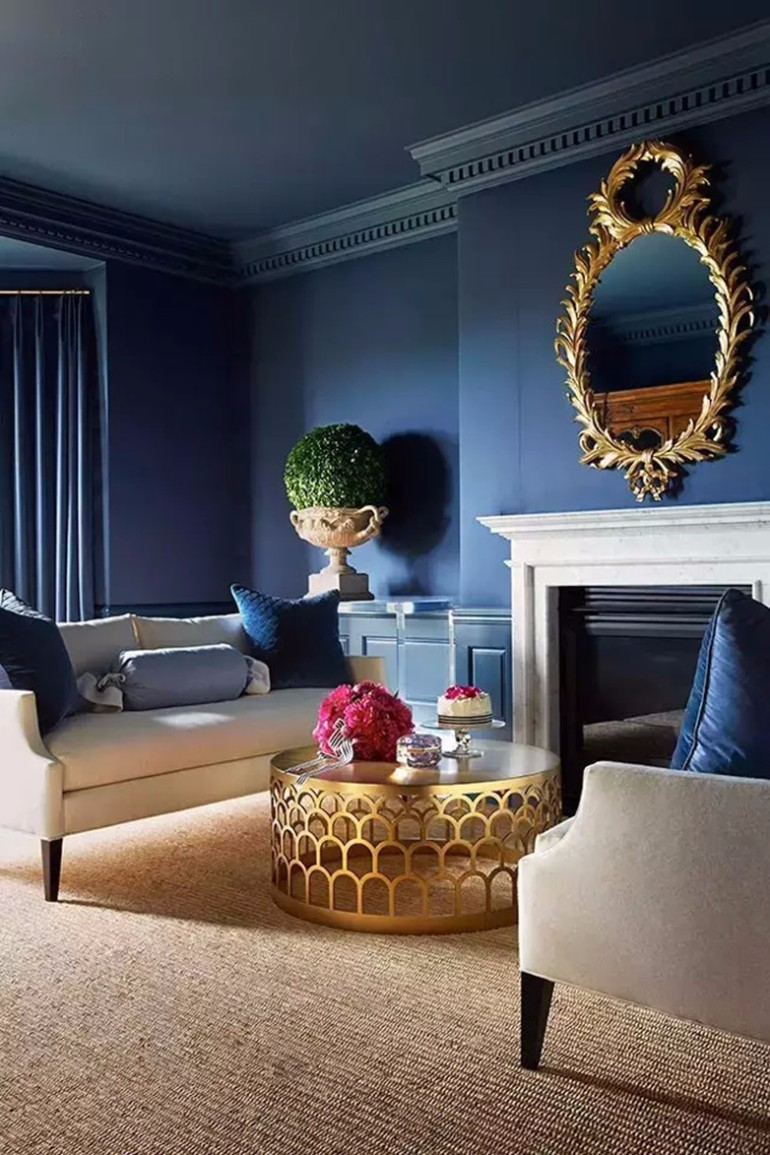 Modern Living Room With Navy Blue Walls