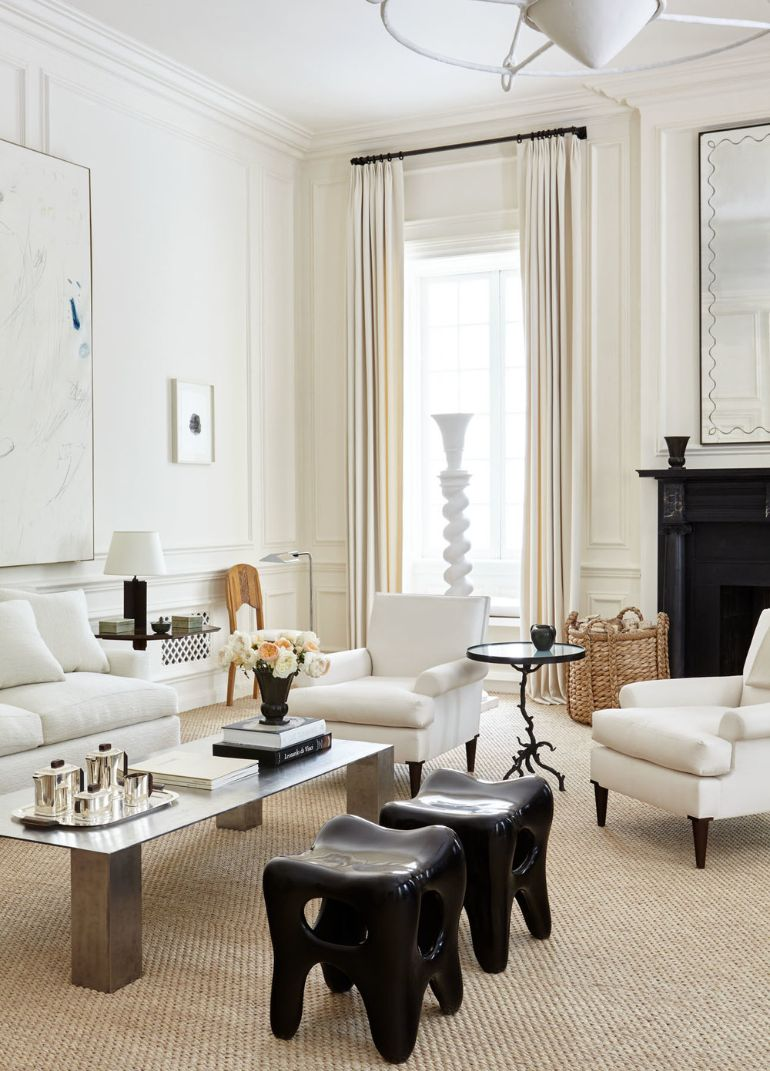 A Chic Living Room In Creamy Whites That Will Be Your Inspiration Today chic living room A Chic Living Room In Creamy Whites That Will Be Your Inspiration Today chic creamy neutral living room in black and white by alyssa kapito room of the week on coco kelley 1