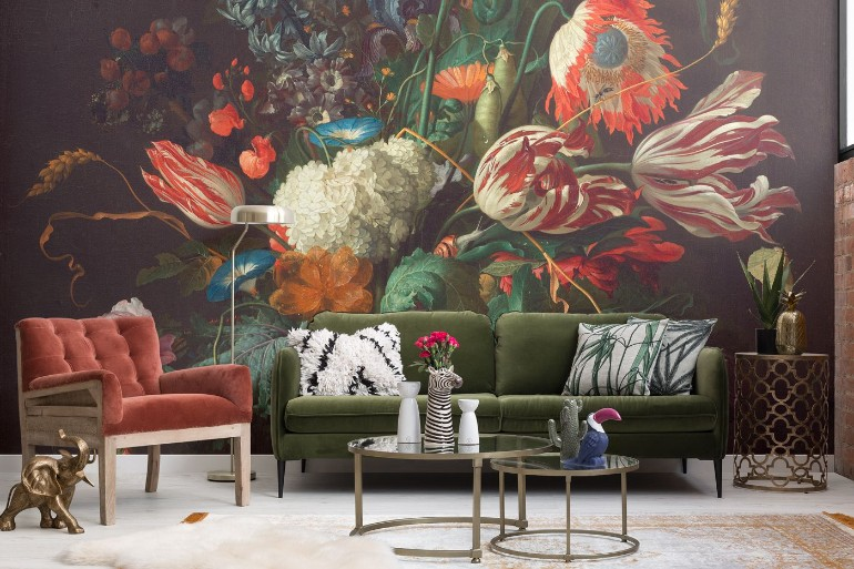 5 Maximalist Living Rooms You'll Want To Replicate maximalist living room 5 Maximalist Living Rooms You'll Want To Replicate vase of flowers murals wallpaper 1531592826 1