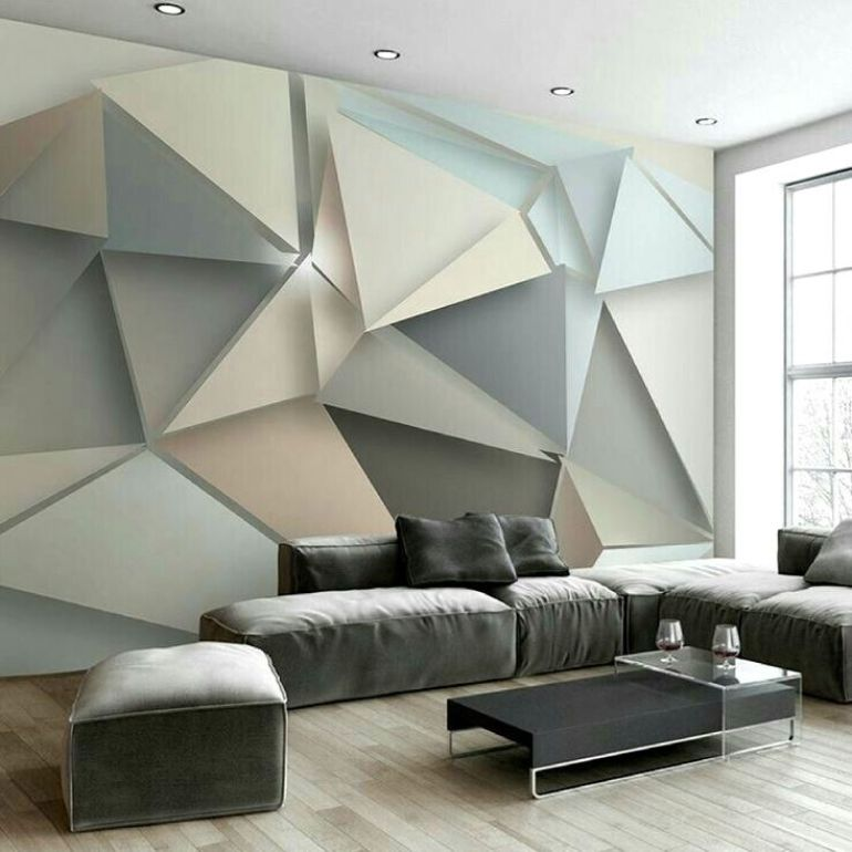 living room decor Our Favorite Geometric Accessories For Your Living Room Decor Living room 3D geometric wall decor design ideas