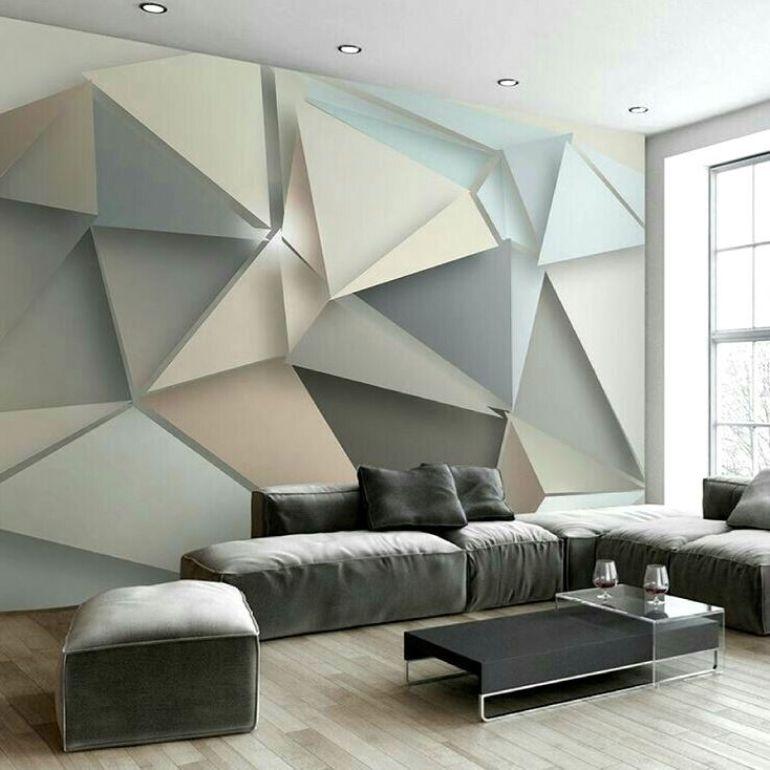 living room decor Our Favorite Geometric Accessories For Your Living Room Decor Living room 3D geometric wall decor design ideas
