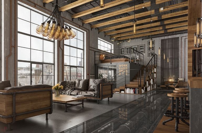 Effortless Cool And Easy Industrial Living Rooms industrial living rooms Industrial Living Rooms- An Effortless Cool And Easy Being loft idea bulb chandelier industrial living room lighting